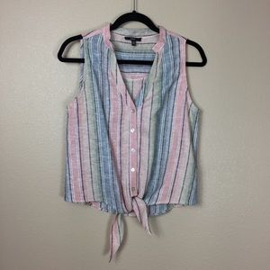 Drew rainbow vertical striped tie front tank top